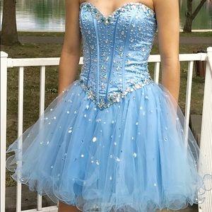 Mori Lee Blue Strapless Formal Dress